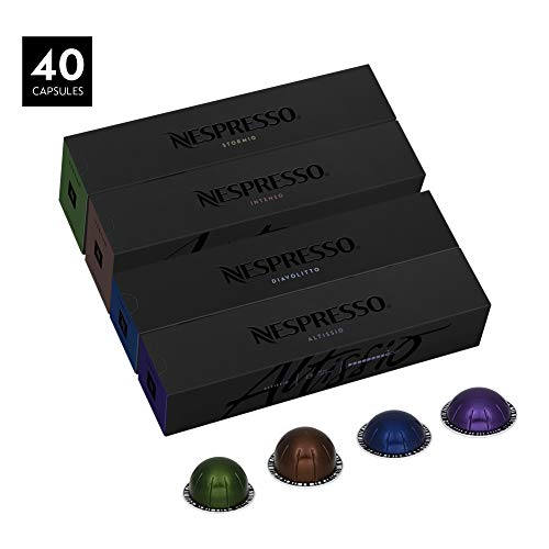 Nespresso Capsules VertuoLine, Dark Assortment Variety Pack, Dark Roast Coffee & Espresso, 40 Count Coffee & Espresso Pods, Brews 7.8 oz and 1.35oz