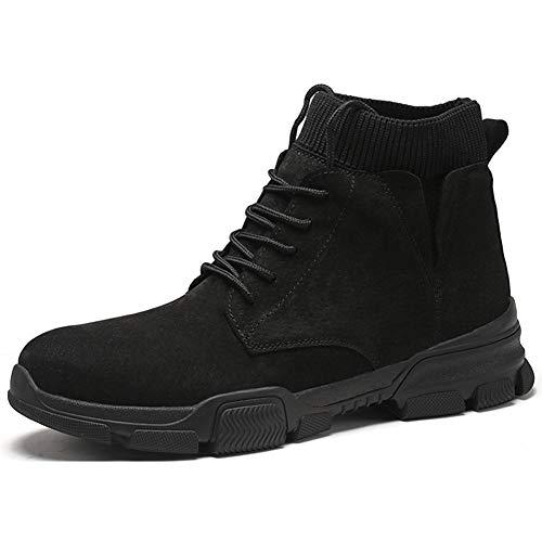 Hong Yi-shoogs HongYi heren laarsjes voor high top sneakers snoeren microvezel leer naaigaren elastische sokken kraag ronde kap outdoor anti-slip wandelschoenen heren