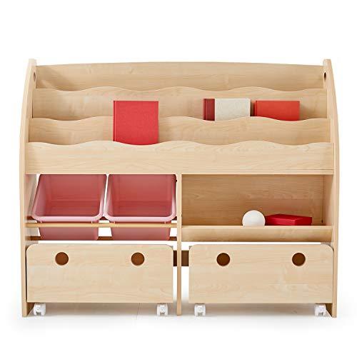 LOWYA ロウヤ 子ども用本棚 絵本棚 絵本ラック おもちゃ箱 玩具 ワイド ナチュラル×ピンク