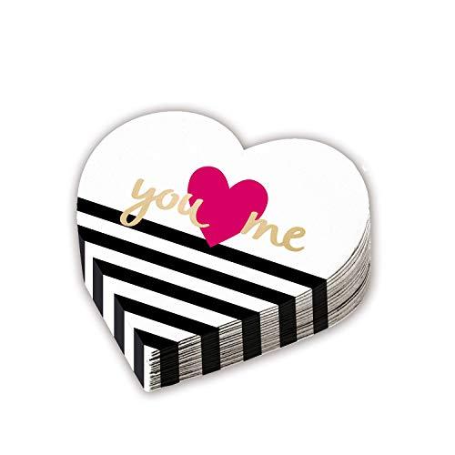 Amscan 9903116 12 Servietten Everyday Love Herzform, Schwarz/Weiß
