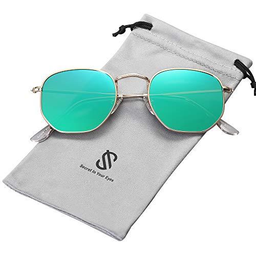 SOJOS Mode Polygon Sonnenbrille Damen Herren Verspiegelte Polarisiert Linse Leichte Unisex Brille SJ1072 mit Gold Rahmen/Grün Linse