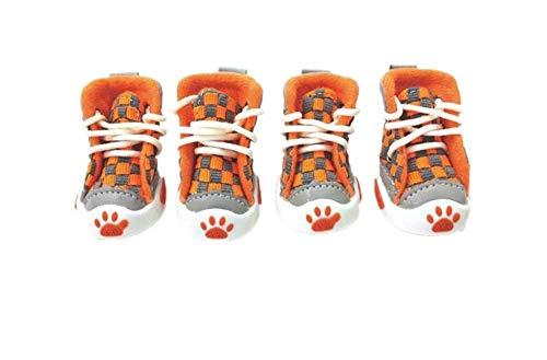 Hundeschuhe, gewebte Schuhe, VIP-Teddy-Pomeranian-Hundesandalen, atmungsaktive Schuhe für Haustiere, Kirschsandalen (Color : Orange, Size : 4)