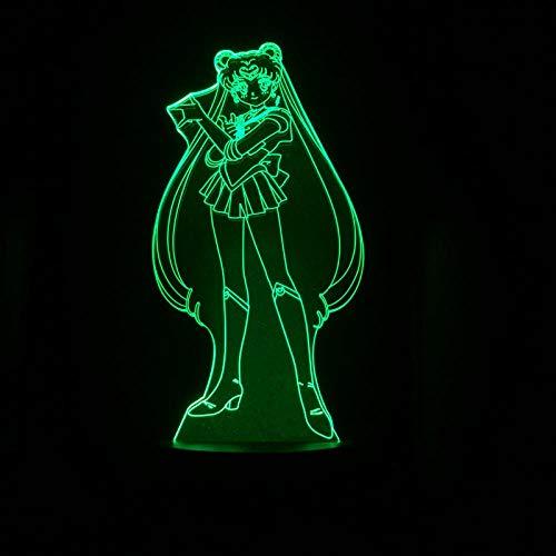 Tsukino Usagi Figura USB 3D LED Luz nocturna decoración niño bebé regalos anime japonés marinero luna lámpara de mesa noche