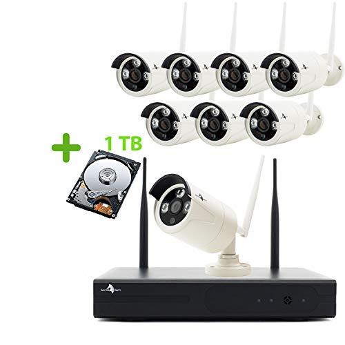 Gorillatech HD 960P Funk Überwachungskamera System mit 1TB Festplatte Wireless HDMI NVR mit 8 Außen 960P WLAN Kamera Video Überwachungsset Indoor/Outdoor 30M Nachtsicht Bewegungserkennung
