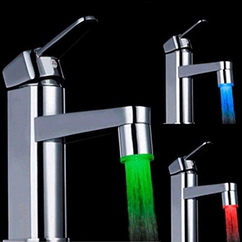 365-Shopping 2er Set 3-farbige LED Wasserhahn Design WaschtischarmaturenWasserhahnaufsatz Beleuchtung - 2