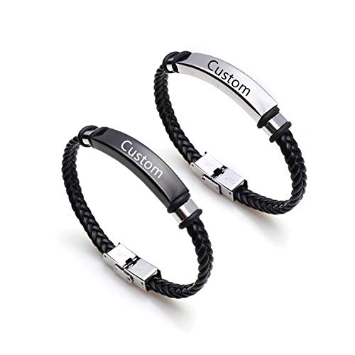 NineJewelry Personalised Couples Bracelets-Stainless Steel Braided Leather...