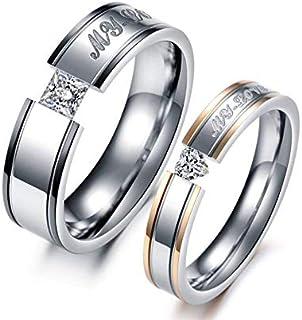 دبل رجالي نسائي مطلي ألماس مصنع من التيتانيوم مقاس خاتم الرجل:9 مقاس خاتم النساء:7
