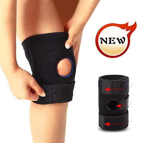 Jueachy Knieorthese für Männer Frauen Knieunterstützungsschutz zum Laufen Wandern Gewichtheben Training Gelenkschmerzen Meniskusriss Arthritis Tendinitis mit Easy Stick Strap