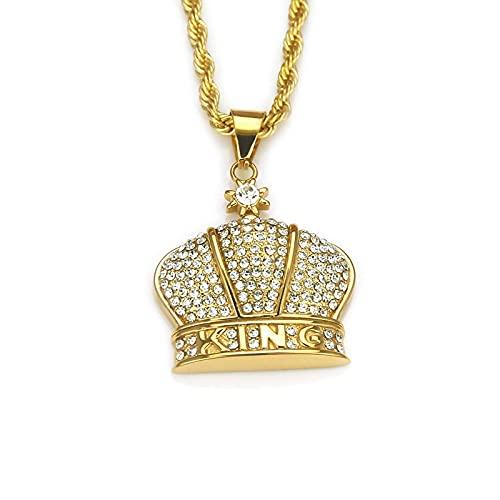 1Pieza Collar Con Colgante De Corona De Diamante Completo Collar De Cadena De Hip Hop De Cristal Punk Rock Para Hombre Joyería De Regalo Exagerada Joyería De Moda