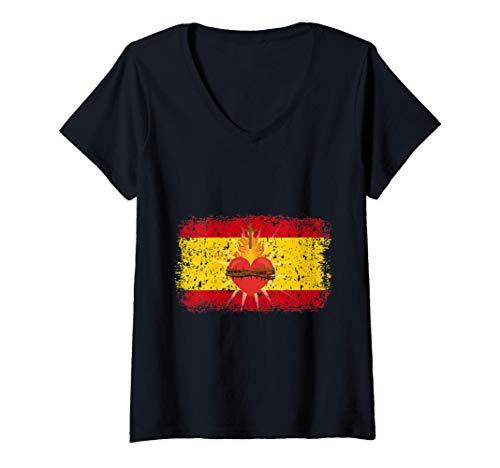 Mujer Sagrado Corazón de Jesús con Bandera de españa para patriota Camiseta Cuello V