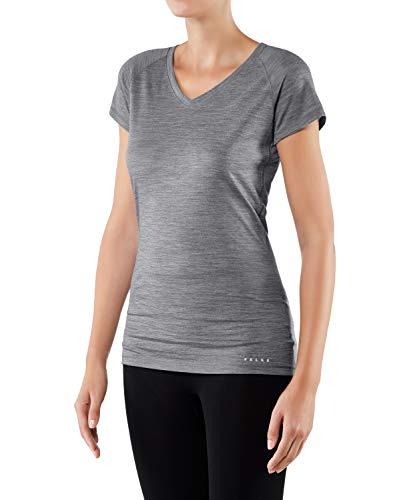 FALKE Damen Silk Wool W S/S SH Baselayer-Shirt, Grau (Grey-Heather 3757), M