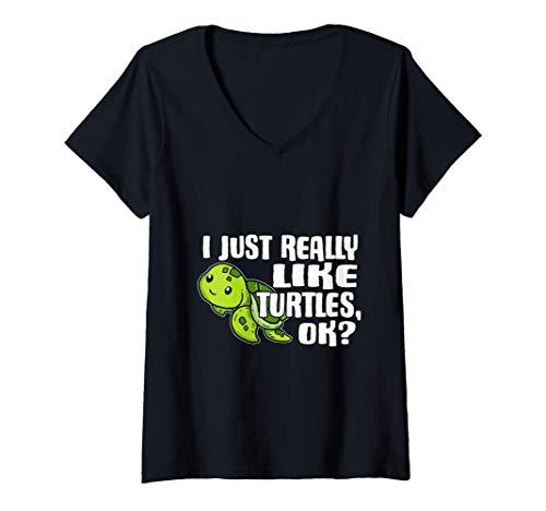Mujer I Just Really Like Turtles Ok Disfraz De Tortuga Marina Camiseta Cuello V