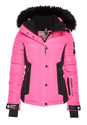 Superdry Luxe Puffer Damen Schneejacke L Luminous Pink Sheen