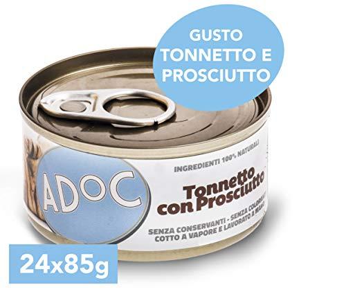 Adoc - Cibo Umido per Gatti Adulti con Ingredienti Naturali Tonnetto con Prosciutto - 24 lattine da 85gr