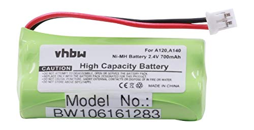vhbw NiMH Akku 700mAh (2.4V) für schnurlos Festnetz Telefon Siemens Gigaset A12, A120, A14, A140 wie V30145-K1310-X359, V30145-K1310-X383.