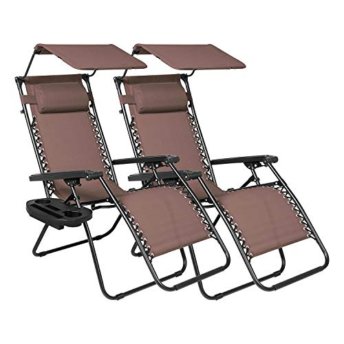 Zero Gravity Chairs Set of 2 Clearance with Sunshade Canopy and Cup Holder Tray Padded Adjustable Antigravity Lounge Folding Chair Patio Lounge Chair for Outdoor, Camping, Patio, Lawn, Brown