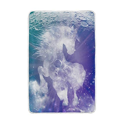 DOSHINE Zwillings-Decke, Universe Galaxie Nebula Tier Pferd, weich, leicht, wärmend, 152,4 x 228,6 cm, für Sofa, Bett, Stuhl, Büro