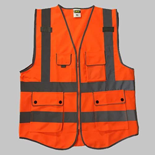 Vest Reflecterende Veiligheid Blauwe Veiligheidsvesten Reflecterende Logo Afdrukken Werkkleding Veiligheidsvesten Met Reflector Strepen Aankomst XL-Chest124cm Hi Vis Orange