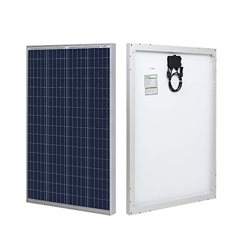 HQST 100 Watt 12 Volt Polycrystalline Solar Panel with Solar Connectors High Efficiency Module PV Power for Battery Charging Boat, Caravan, RV and Any Other Off Grid Applications