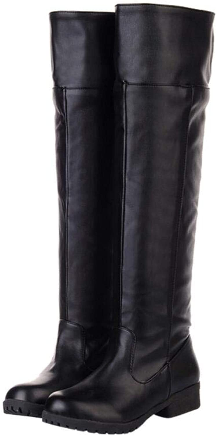 ACE SHOCK Adult Men's Cos-Play Knee-high Boot Riding Boots Black