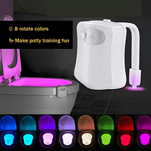 Toilet Light, 8-Color LED Toilet Bowl Night Light with Two Mode, Motion Activated Detection Bathroom Bowl Lights, Sensor Night Light for Bathroom
