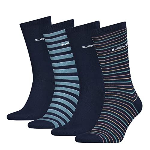 Levi's Mens Stripe Men's Regular Cut Socks Gift Box, Blue Combo, 43/46