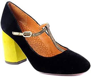 Women T-Strap 3.5 Inches in Black Velvet with Colored Heel