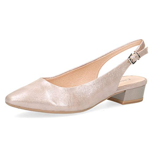 CAPRICE Damen Pumps 29403-24, Frauen Sling-Pumps, Women Woman Freizeit leger Slingback knöchelriemchen Leder bequem,Taupe SUE.MET,40 EU / 6.5 UK