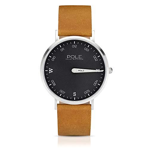 Pole Watches Reloj de Pulsera Analógico Monoaguja de Cuarzo para Hombre con Correa de Cuero | Modelo Compass