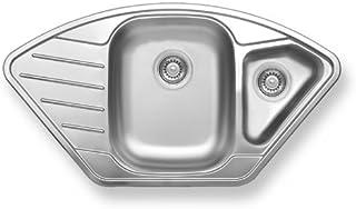 Edelstahlspüle -Spülbecken- DR50/92 - Becken 1,5 Spülbecken mit Abtropfflächen-500x920 mm - Tiefe 200 mm