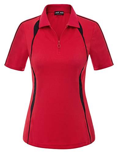Women Slim Fit Moisture Wicking Sport Golf Polo Shirt Tops (M,Red #23)