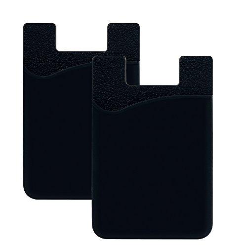 SHANSHUI 2 Pack Tarjetero Adhesivo Porta Tarjetas, (Pegamento) para Todo Tipo de Móviles con Cinta Adhesiva de 3M,Bolsillo y Soporte para Auriculares con Función de portadocumentos(Negro)