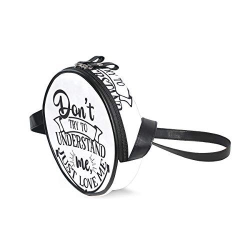Just Love Me - Bolso bandolera con letras redondas para niños y mujeres