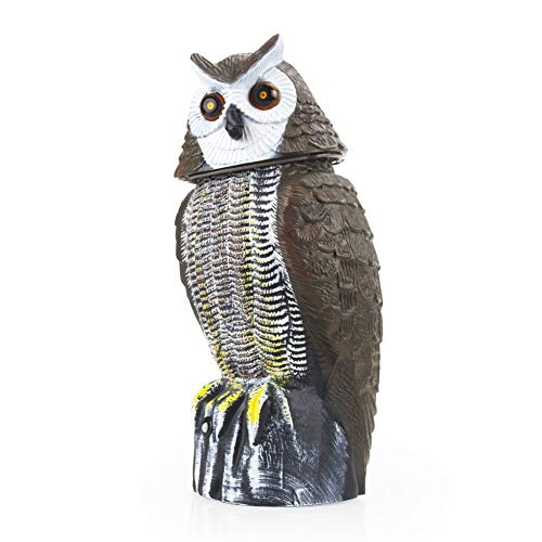 Redeo Solar Powered Owl Decoy Scarecrow Bird Repellent with Flashing Eyes & Scary Sound & Rotating Head, 10-16 ft Motion Activated - Animal Repeller Deter Birds, Squirrels and Mice