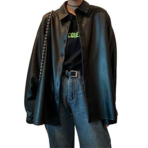 ORANDESIGNE Damen Lederhemd Y2K Retro Punk Übergroßer PU Lederblazer Lederjacke Gotische Blusenjacke Langarm Einreiher Kunstleder Blusen D Schwarz S