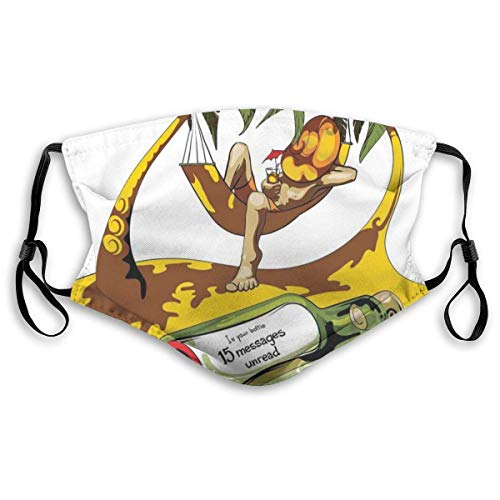 Image Of Young Man In Hammock And Message In A Bottle At Beach Artsy Design,Men Face Bandanas,For Cycling Camping Outdoor,Reusable Facial Decorations,Windproof Mouth Scarf