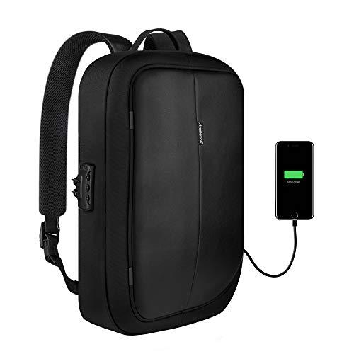 Redlemon Mochila para Laptop Antirrobo Ejecutiva, con Candado y Puerto USB para Power Bank (No Incluido), Resistente al Agua, Diseño Ergonómico, Estilo Moderno con Múltiples Compartimentos