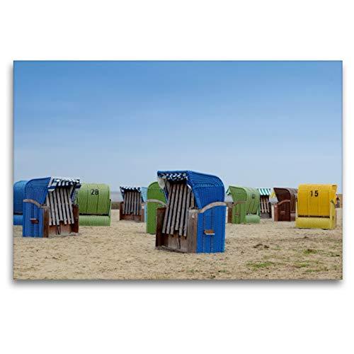 Premium Textil-Leinwand 120 x 80 cm Quer-Format Strandkörbe in Dangast | Wandbild, HD-Bild auf Keilrahmen, Fertigbild auf hochwertigem Vlies, Leinwanddruck von Christian Lindau