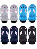 4 Pairs Child Ski Gloves Waterproof Snow Mittens for Toddlers Boys Girls (Black, Gray, Blue, Navy Blue, 3-5T)