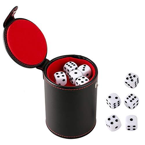 GWHOLE Würfelbecher Leder Set mit 10 Würfeln für Würfelspiele, Schwarz