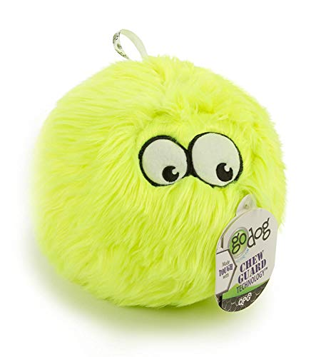 goDog Furballz Plush Dog Toy with Chew Guard Technology, Citron Vert, Taille L
