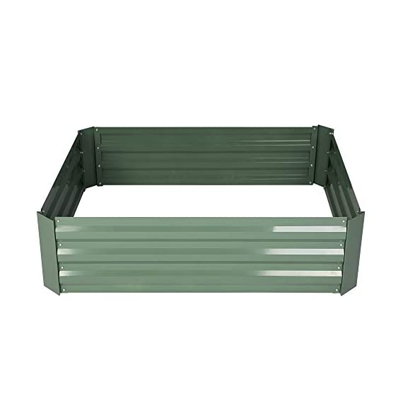 2-pack outoorraised garden bed galvanized planter box anti-rust coating planting vegetables herbs and flowers for… 2 wonderful planter box - 32in x32in x 12in square galvanized raised garden bed provide good drainage, keep weeds away from soil, defense against pests, and protect your plants; you can plant your favorite plants in your patio with this wonderful gardening tools. Safety material & edges - made of galvanized steel; which is rustproof and safe material ;do not contaminate soil, safe for plants and humans; outdoor bed kit edges are not sharp and will not hurt your fingers. High strength - metal piece designed with wave structure,provide better pressure resistance; thickened steel and reinforced corners can easily hold the soil and the plants.