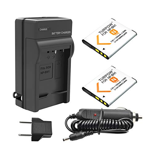 TURPOW NP-BN1 Battery 2 Pack 1200mAh Replacement Battery and Charger Compatible with Sony Cyber-shot DSC-QX10 DSC-QX30 DSC-QX100 DSC-TF1 DSC-TX10 DSC-TX20 DSC-TX30 DSC-W530 DSC-W570 DSC-W650 DSC-WX220