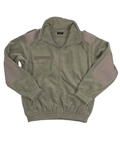 Military Army Warm Camo FLEECE ZIP Hunting JACKET Olive Green (Small)