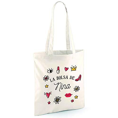 calledelregalo Regalo personalizado para chicas: bolsa tote bag BIO personalizable con nombre