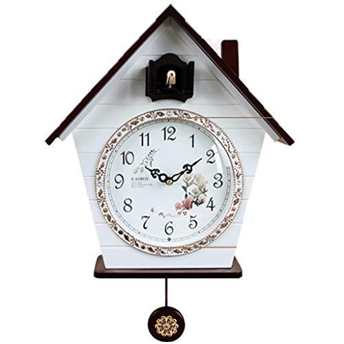Kuckucksuhr Modern Kookoo Dekorative Wanduhren Wandkuckucksuhr Kreative Uhr Für Kinderzimmer Wohnzimmer Stille Vogeluhr Hauptschlafzimmer Modedekoration ( Color : Weiß , Size : 20.1*13.6*4.7inches )