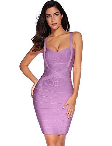 meilun Women's Sleeveless Rayon Bandage Bodycon Strap Dress Small Purple