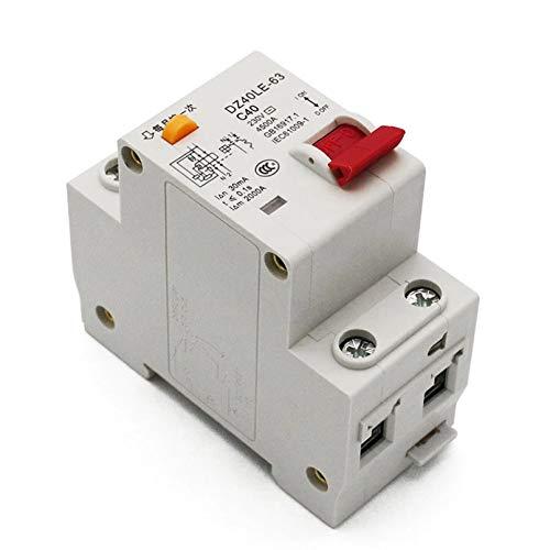 LUOXUEFEI Disyuntor Diferencial Interruptor Disyuntor De Corriente Residual De40A230V 1P N ConProtección Contra Fugas DeCorriente Corta Y Corta