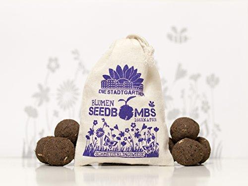 Die Stadtgärtner Seedbombs | Schmetterlingswiese | 8 Handgemachte Samenbomben zum Anlocken von Schmetterlingen und Bienen