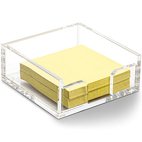 Acrylic Sticky Note Holder (3.9 x 3.95 x 1.6 Inches)